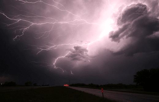 lightning strike during night time